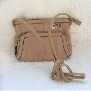 Tignanello cream crossbody leather purse 9x7""